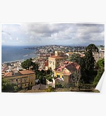 Naples Italy Aerial Perspective - Chiaia and Mergellina Seafront Neighborhoods Poster
