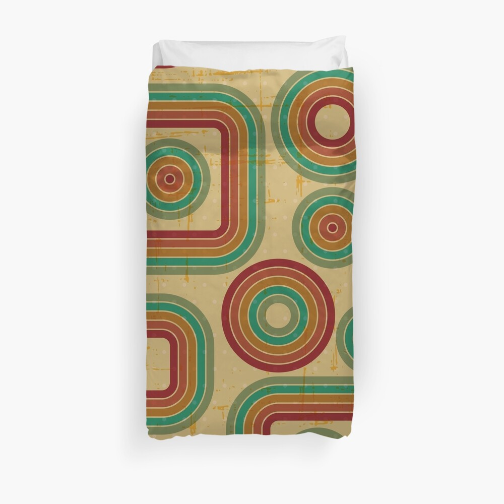 Retro,vintage,geomtric,pattern,rustic,1970 era,red,green,yellow,mint,orange,yellow,modern,trendy Duvet Cover