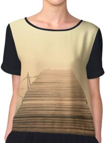 The wooden pier in fog. Water landscape with mist. Nostalgic landscape in sepia colors Chiffon Top