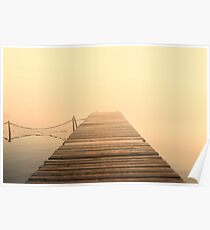 The wooden pier in fog. Water landscape with mist. Nostalgic landscape in sepia colors Poster