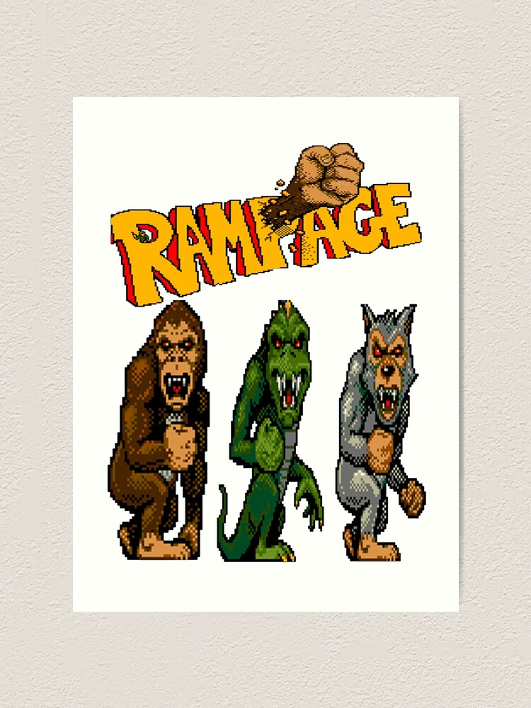 Rampage George Lizzie And Ralph Art Print By Garyspeer Redbubble