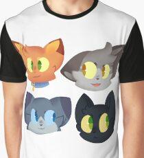 Krieger Katzen Aufkleber Set 1 Grafik T-Shirt