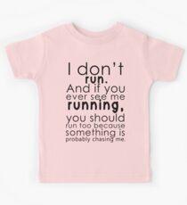 I don't run (black) Kids Tee
