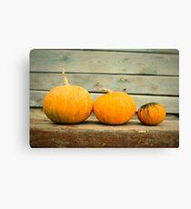 Pumpkins on a wooden background Canvas Print