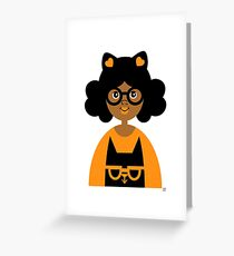 Girl 17 - Halloween Kitty Cat Greeting Card
