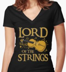 Lord Of The Strings Violin Women's Fitted V-Neck T-Shirt