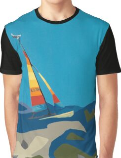 Sailboat with multicolored sail Graphic T-Shirt