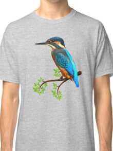 Cute and Colorful elegant kingfisher watercolor blue Bird Classic T-Shirt