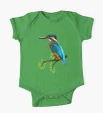 Cute and Colorful elegant kingfisher watercolor blue Bird One Piece - Short Sleeve