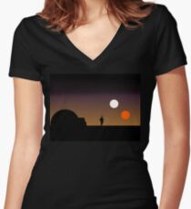 The Double Sunset... Women's Fitted V-Neck T-Shirt