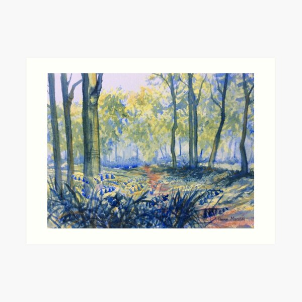 Bluebells in Sewerby Park Art Print