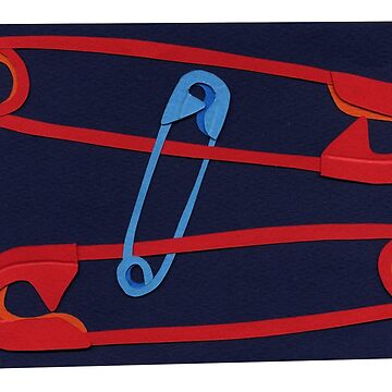 Safety Pin #19 - red,blue, Navy by sagworks