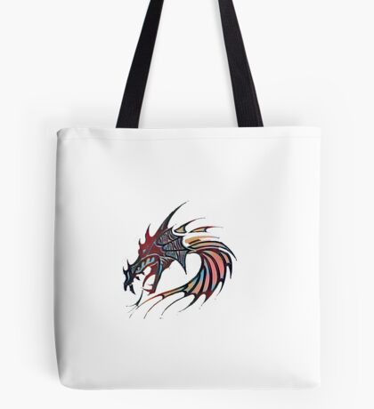 Dragon head with abstract colors Tote Bag