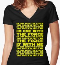 The Force is with me and I am one with the Force Women's Fitted V-Neck T-Shirt