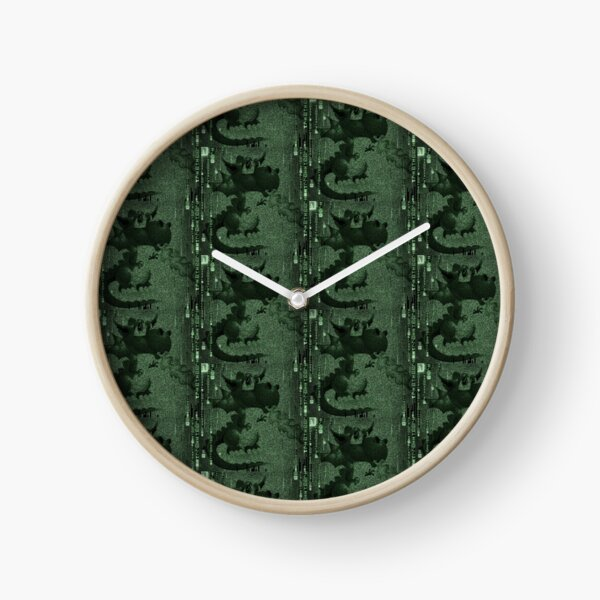 Neon teal dragon head pattern  Clock