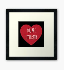 You are My Person   Love Couple   Friendship Red Heart Print  Framed Print