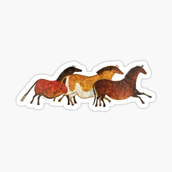 Cave Horses in Beige Sticker