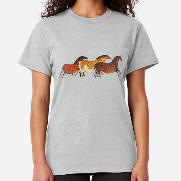 Cave Horses in Beige Classic T-Shirt
