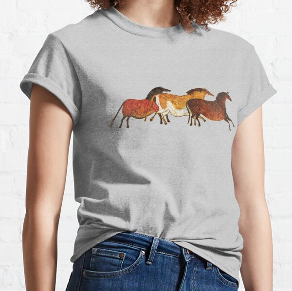 Cave Horses in Beige Classic T-Shirt