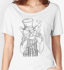 Cat gentleman in bowler hat, scarf with pipe and monocle. Anthropomorphic character.  Women's Relaxed Fit T-Shirt