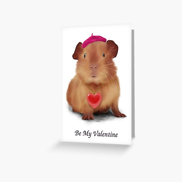 """Guinea Pig Valentine's Day Card """"Be My Valentine"""" Greeting Card"""