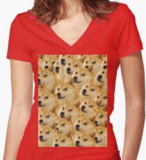 Doge meme Women's Fitted V-Neck T-Shirt