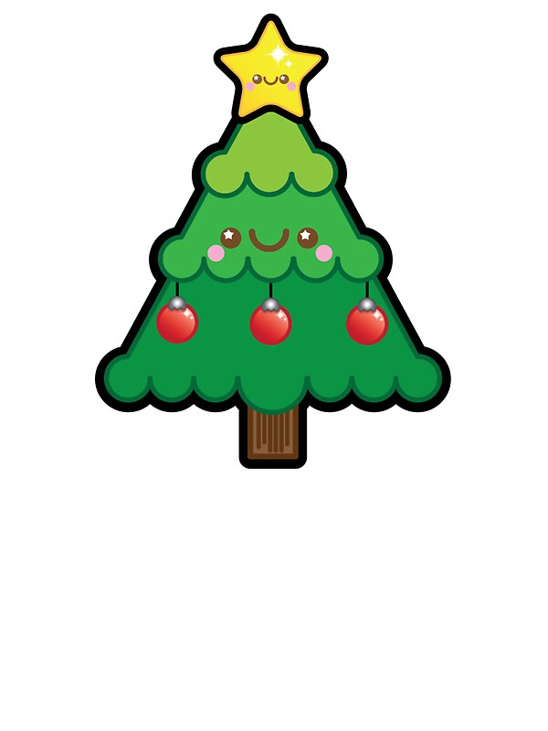 """Cute Kawaii Christmas Tree"" Stickers by Ladypixelle ..."
