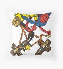 Satan rides  fixie! Throw Pillow