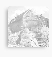 Mill Gray - Pencil Black and White Canvas Print