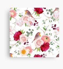Natural vector seamless pattern with cute robin birds and bouquets of peachy roses, white and burgundy red peony, orchid, eucalyptus, green plants mix and ranunculus in japanese style Canvas Print