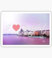 "Photo poster with the text ""I love Budapest"". Hipster purple colors Sticker"