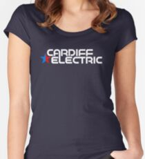 CARDIFF ELECTRIC WHITE Women's Fitted Scoop T-Shirt