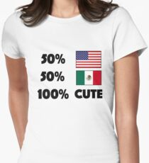 50% American 50% Mexican 100% Cute Baby USA Mexico Women's Fitted T-Shirt