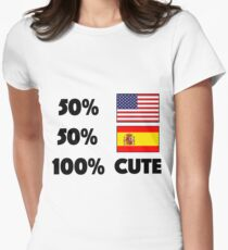 50% American 50% Spanish 100% Cute Baby USA Spain Women's Fitted T-Shirt