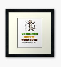Music lovers, cool design with singing cat Framed Print
