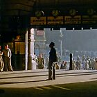Clockwatcher on entrance Flinders St station 19580904 0001 by Fred Mitchell