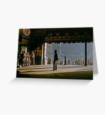 Clockwatcher on entrance Flinders St station 19580904 0001 Greeting Card