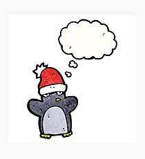 cartoon funny christmas penguin Photographic Print
