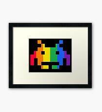 Rainbow Space Invader Framed Print