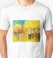 Crowd of People Shopping in Town Painting T-Shirt