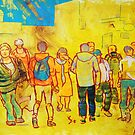 Crowd of People Shopping in Town Painting by MikeJory