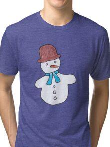 Cute Snowmen Watercolor Winter Christmas Pattern Tri-blend T-Shirt