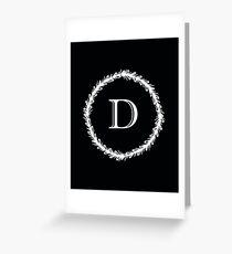 Monochrome Monogram D Greeting Card