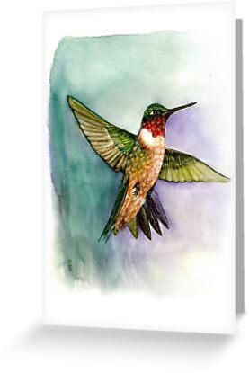 hummingbird in flight handmade aquarelle by Veera Pfaffli