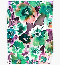 Zoe Floral Sea Green Poster