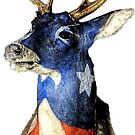American Deer Head Red White and Blue by Statepallets