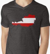Austria Flag Map Men's V-Neck T-Shirt