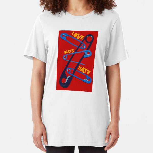 Love Beat Hate Red and Blue Safety Pins Slim Fit T-Shirt