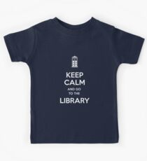 Keep calm and go to the library shirt Kids Tee