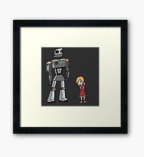 Cute Little Girl And Tall Metal Robot Cartoon Design Framed Print